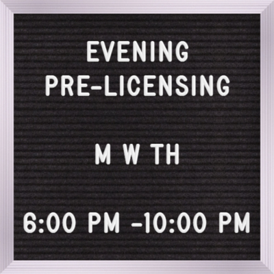 Pre-licensing Evening Course Sept 16th, 6:00 pm - 10:00 pm Monday, Wednesdays & Thursdays  Testing will be held on Nov 4th  (Read description fully)