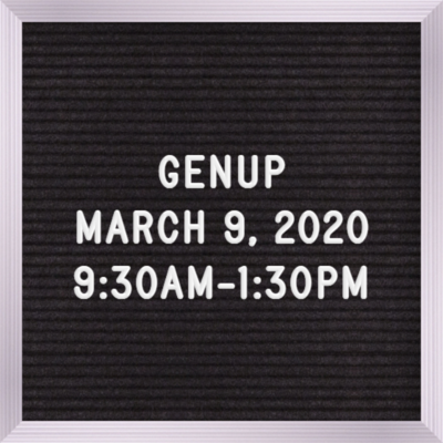 GENUP March 9th 9:30 AM - 1:30 PM