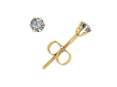 Genuine 0.2Ct Round Diamond Stud Earrings 14k Yellow Gold 6Prong GH I1 ScrewBack