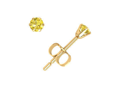 0.15Ct Round Brilliant Yellow Diamond Solitaire Stud Earrings 14Kt Gold Prong