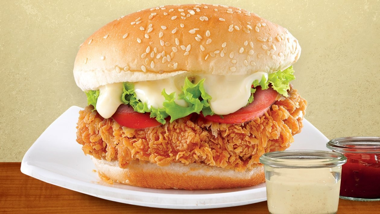 Cheese Chicken Burger with Mayonnaise