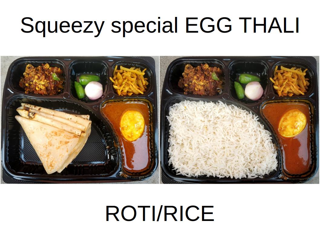 Egg thali (Roti/Rice)