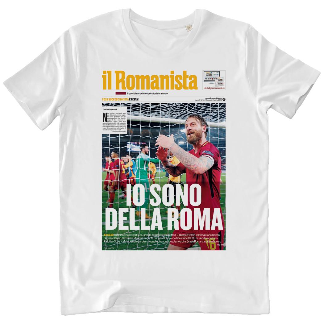 """T-shirt """"Io sono della Roma"""", Roma-Barcellona Champions League - Uomo - Il Romanista"""
