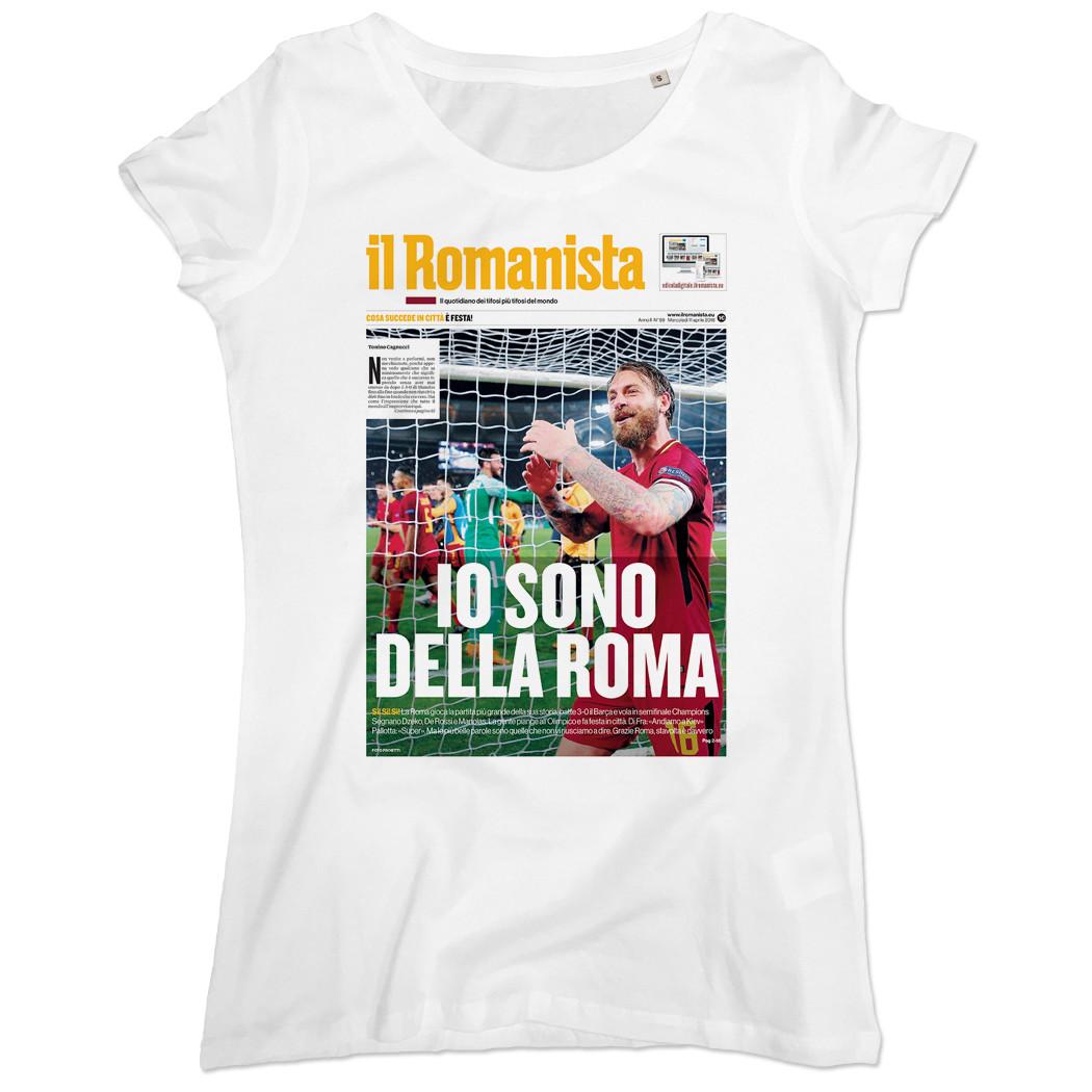 """T-shirt """"Io sono della Roma"""", Roma-Barcellona Champions League - Donna - Il Romanista"""