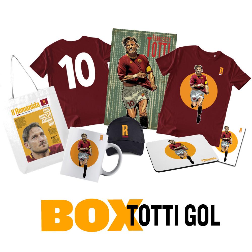 BOX - TOTTI GOL (2 t-shirt, 1 poster, 1 shopping-bag, 1 tazza, 1 cappellino, 1 magnete e 1 mouse-pad a un prezzo speciale)