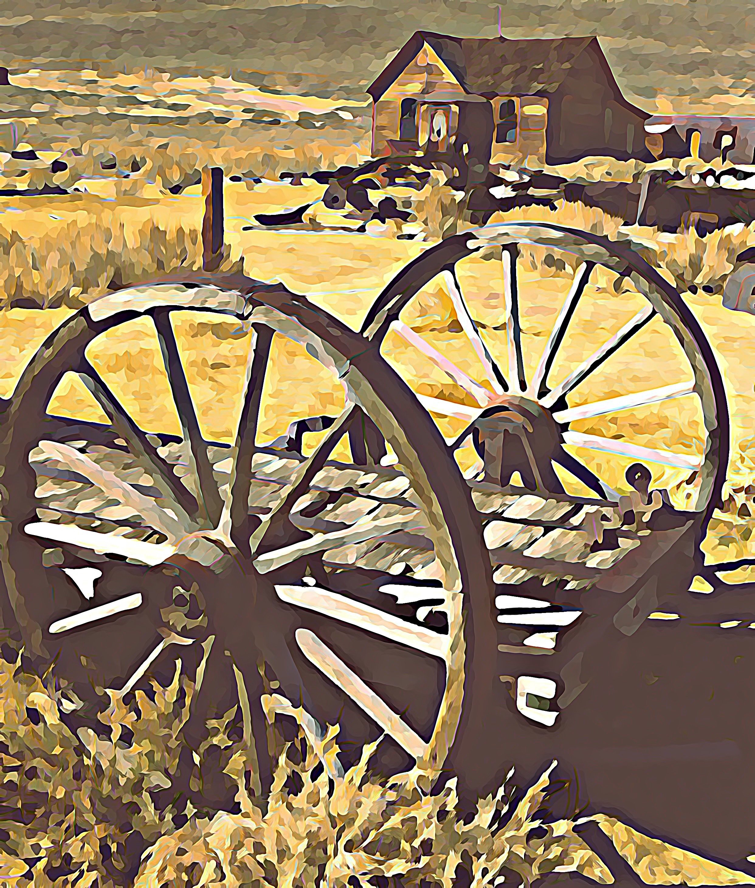 "16""x20"" Photographic Print/artistic effect Wagon Wheels of the Old West 00000"