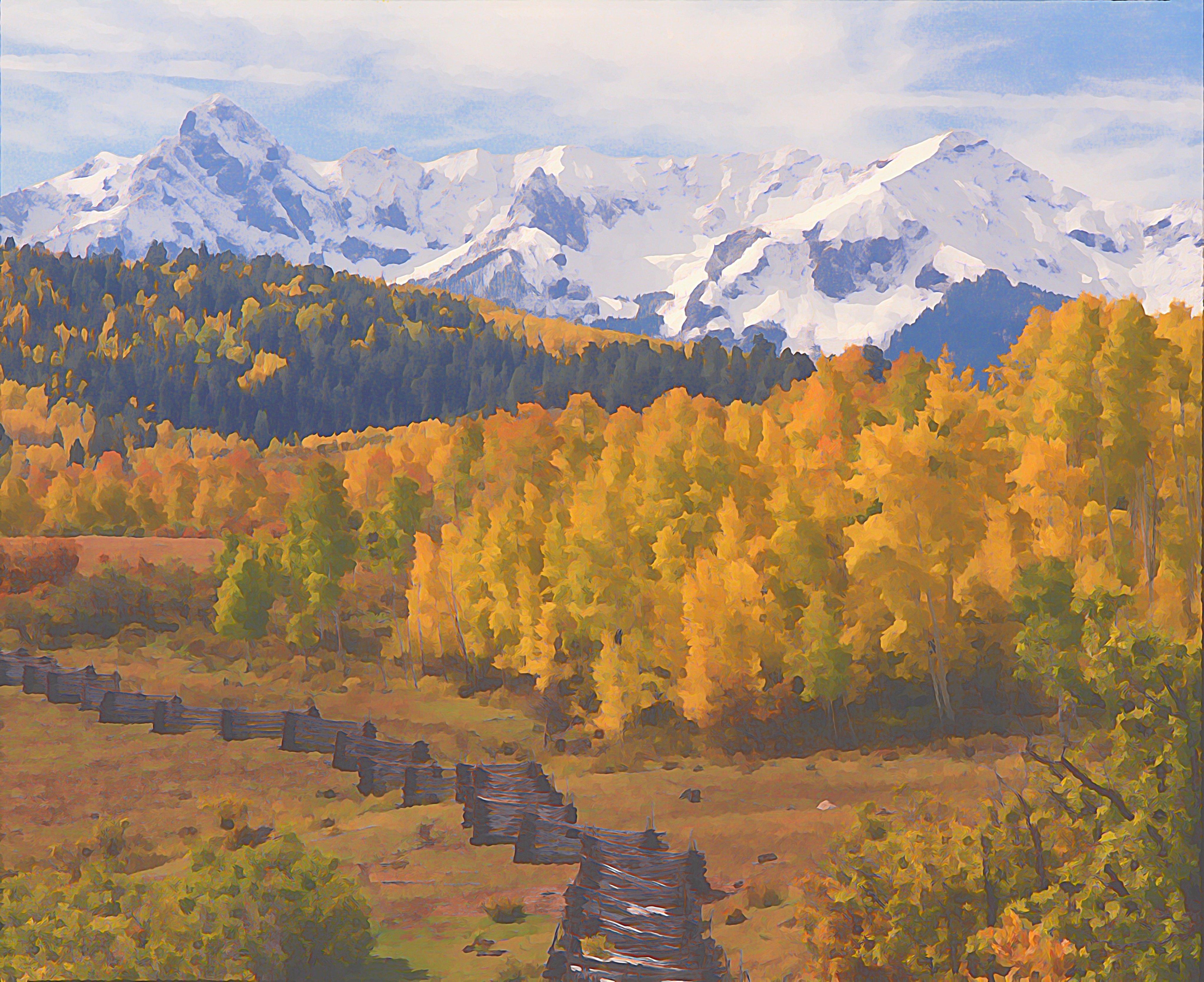 "16""x20"" Photographic Print artistic effect Aspen, San Juan Mountains from Dallas Divide, Colorado 00004"