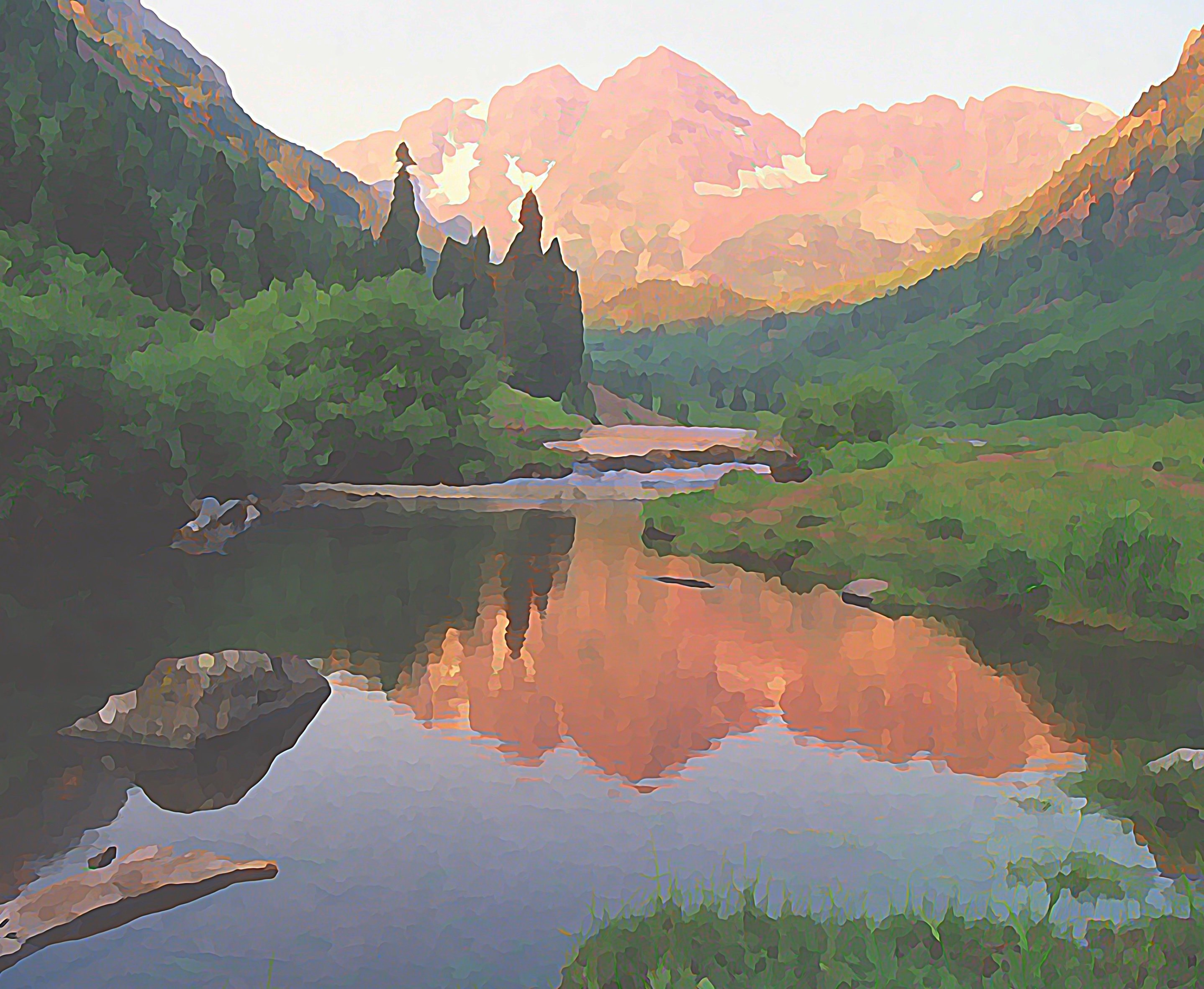 "16""x20"" Photographic Print Maroon Bells/Early Morning near Aspen, Colorado 00008"