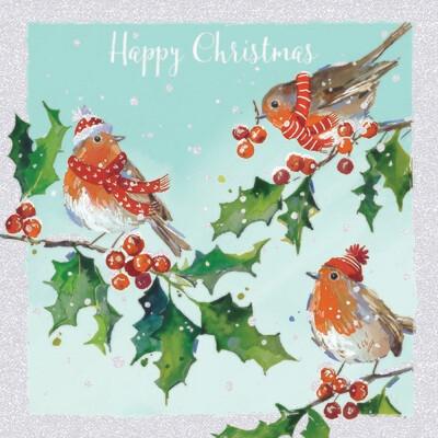 Winter Robins (Glitter) Christmas Cards