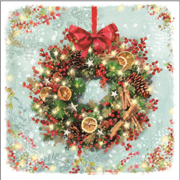 Christmas Wreath with Oranges (Foil) Cards