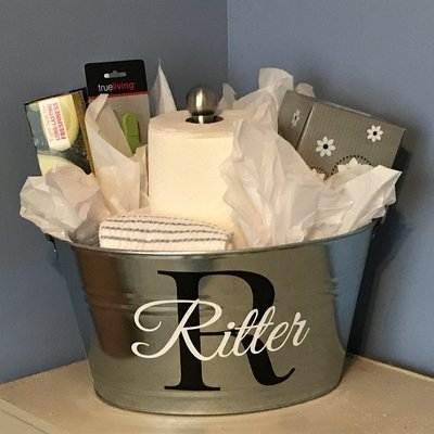 Galvanized Monogrammed Bucket(not filled with items)