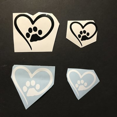 Paw Heart Decals