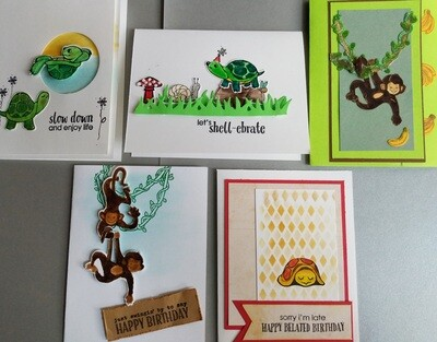 Hero Arts Monkey and Turtle Cards