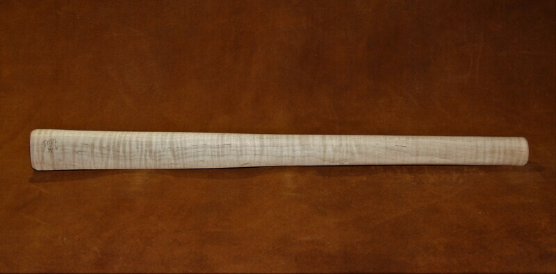 PIPE TOMAHAWK HANDLE drilled;   Curly Maple  19
