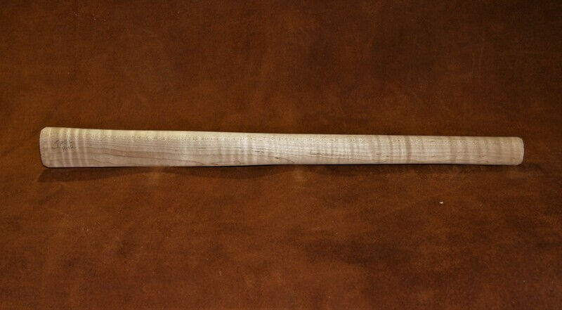 PIPE TOMAHAWK HANDLE, drilled for smoking;  Curly Maple  19