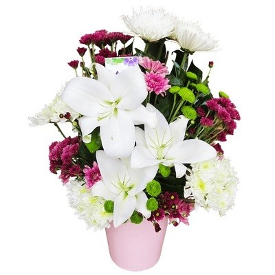 Colorful flowers vase