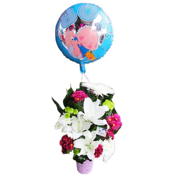 Colors Vase with Helium Balloon