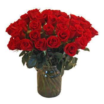 30-100 Red roses in glass vase