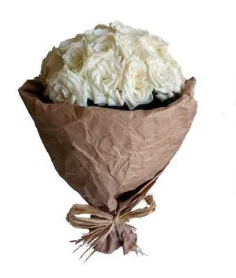 White roses Bouquet (30-75 Roses)