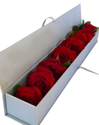 8 Red Roses in a silver box