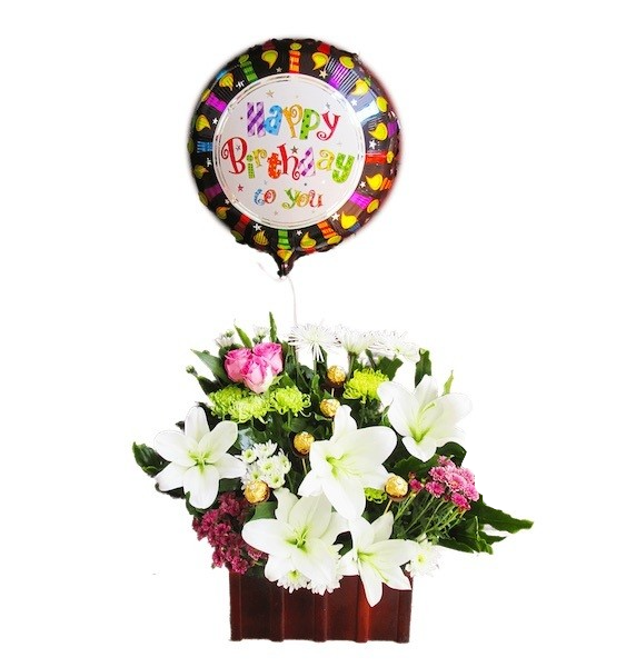 Cool Box of Flowers with choclate and balloon