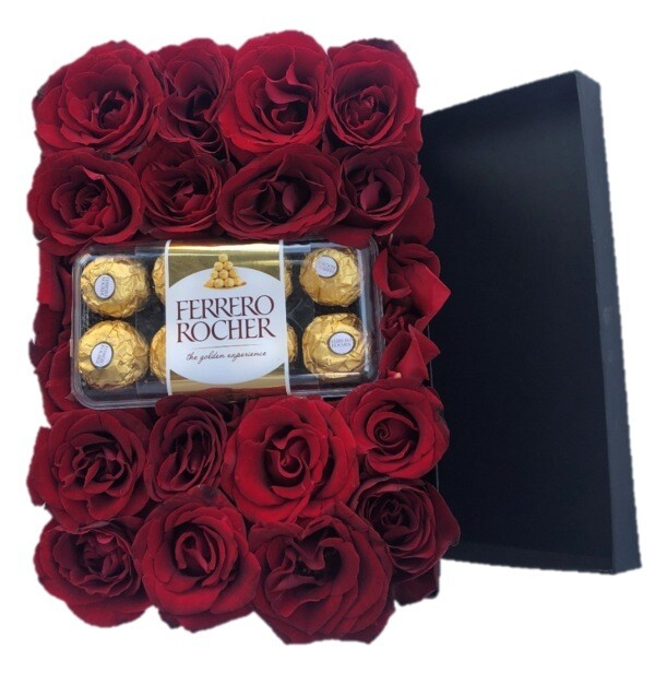 Roses in Black Box with chocolates frerro rocher