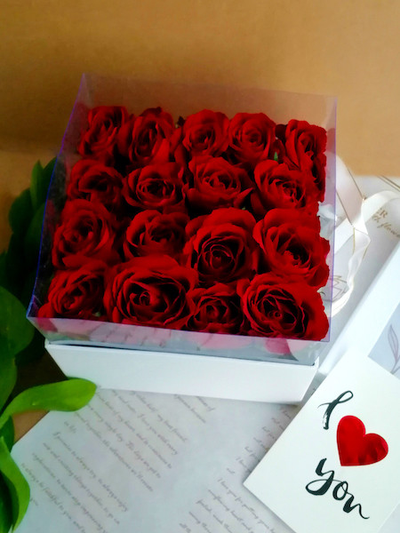 Imported Red Roses in square white box