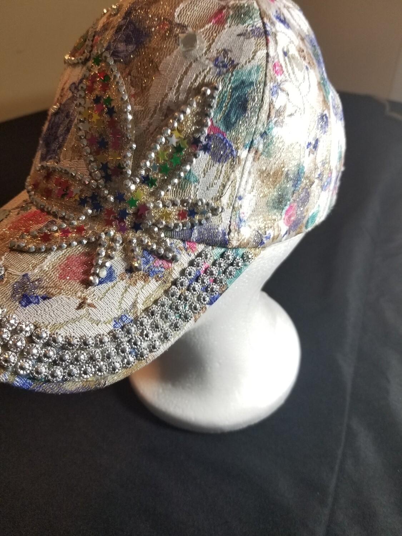 Multi color Cream Flower Hat