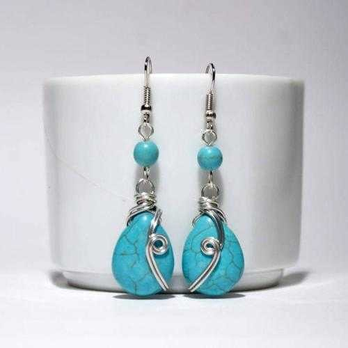 Handmade Turquoise Dangle Drop Wire Wrap Earrings