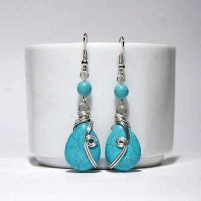 Handmade Turquoise Dangle Drop Wire Wrap Earrings