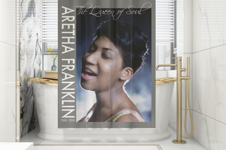 Aretha Franklin Classic Shower Curtain/Mat Set 00005