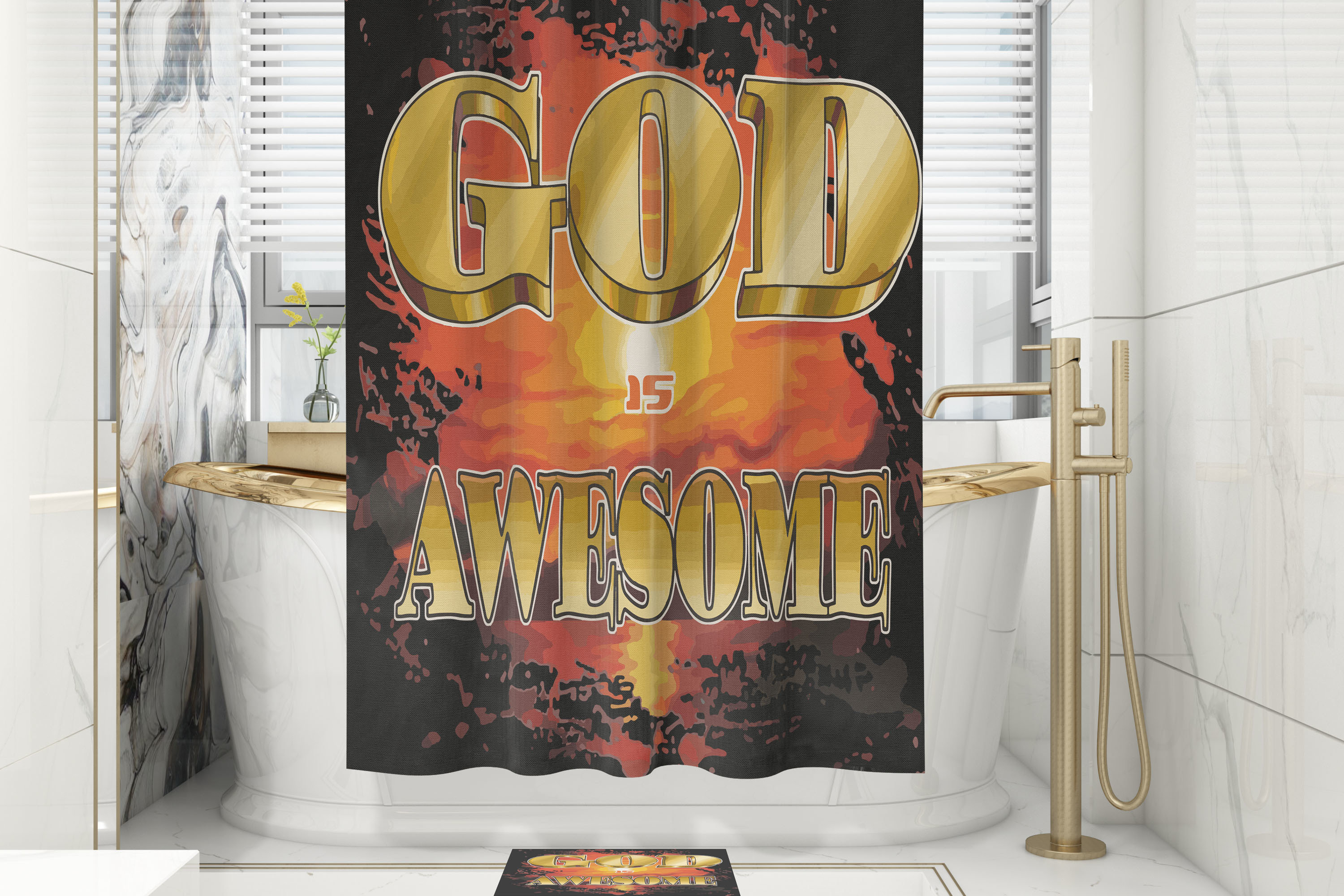 God is Awesome Shower Curtain/Mat Set 00001