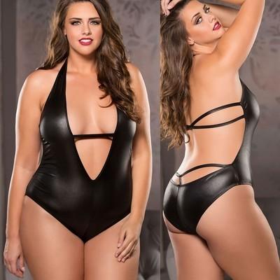V Neck Faux Leather Sexy Bodysuit