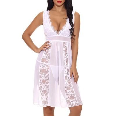 Long Sheer Gown Chemise G-string