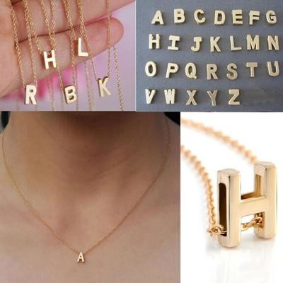 Gold Plated Initial Pendant Necklace