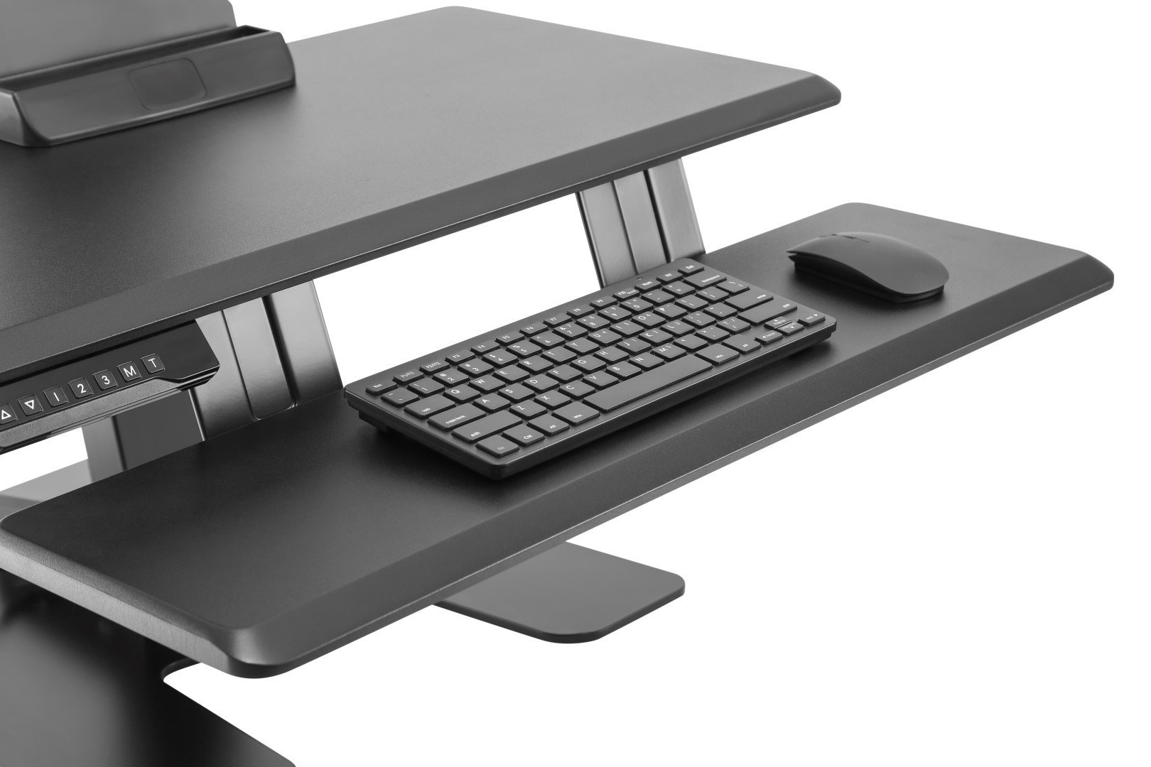 E-Lift S keyboard tray with keyboard and mouse