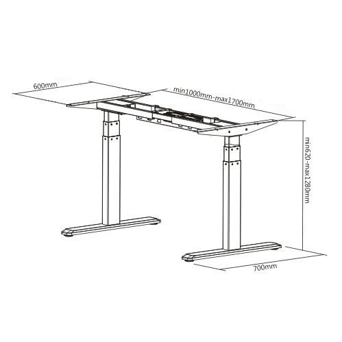 E-Desk graphite frame dimensions