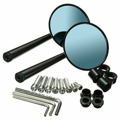 Round Anti Glare CNC Handle bar Mirrors for Motorcycles - Set of 2