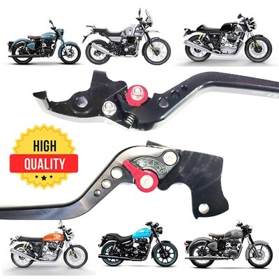 Adjustable Brake Clutch Levers For Royal Enfield - Black