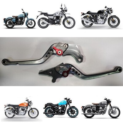 Adjustable Brake Clutch Levers For Royal Enfield - Titanium