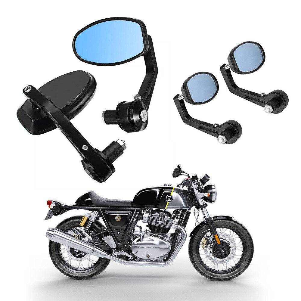 Cafe Racer GT Bar End Mirrors for Motorcycle Aluminum Oval