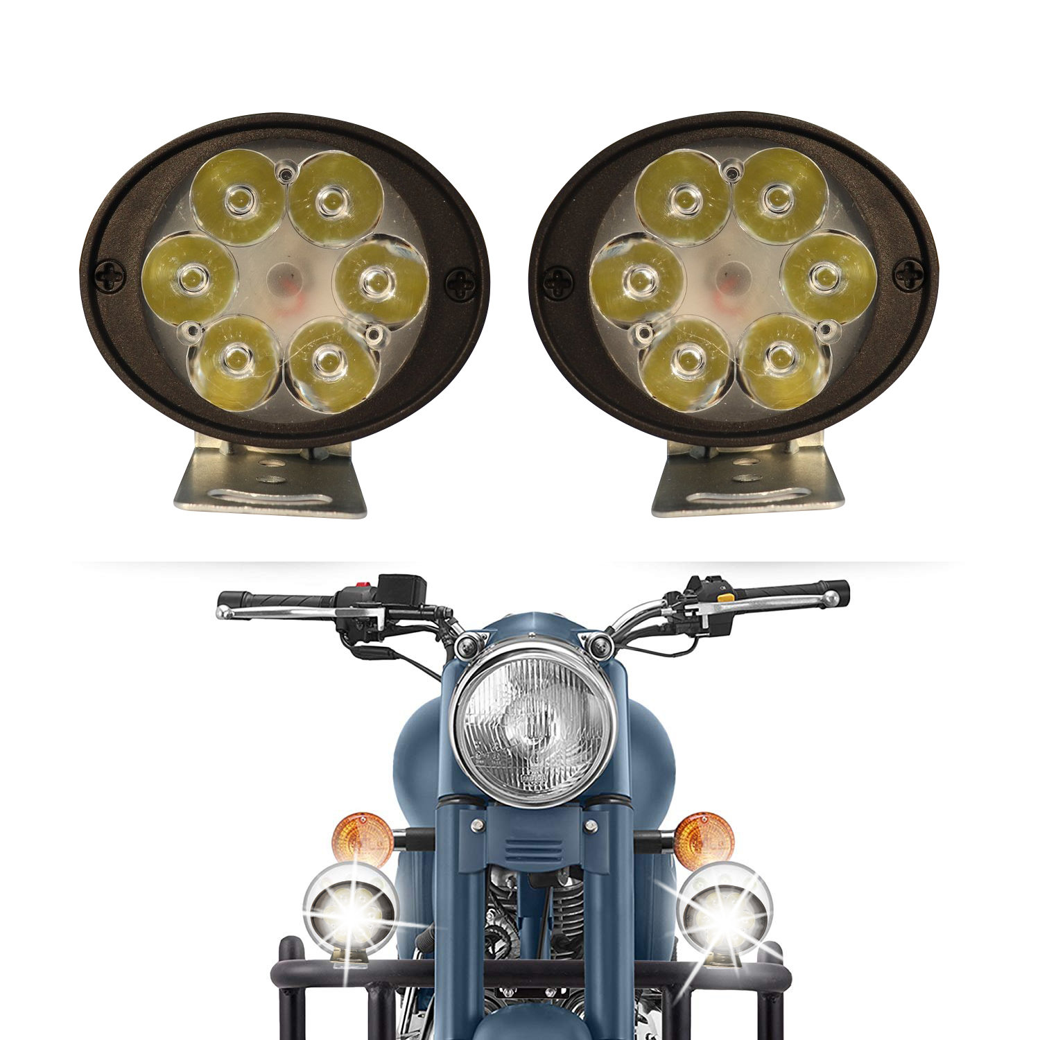 6 LED Fog Lamps Round - pair