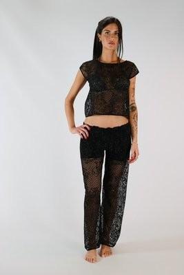 996e6625695b Pantaloni lunghi mare donna in rete lamè jmp
