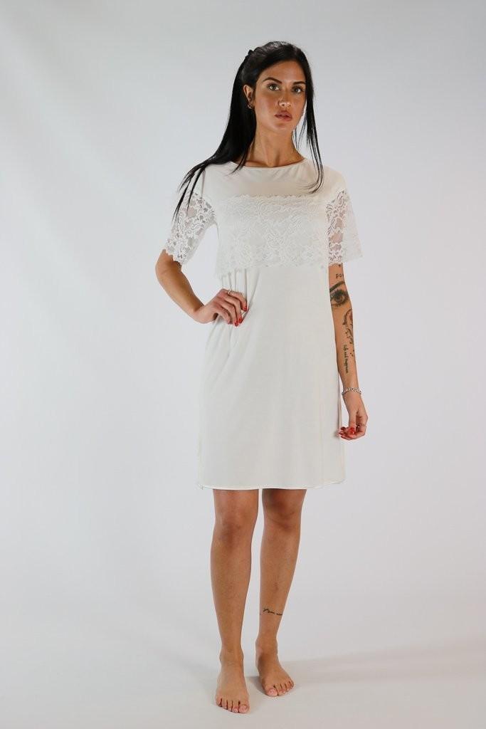nuovo prodotto 93bd8 3a643 Camicia da notte donna in micromodal con inserti in raso e pizzo jmp