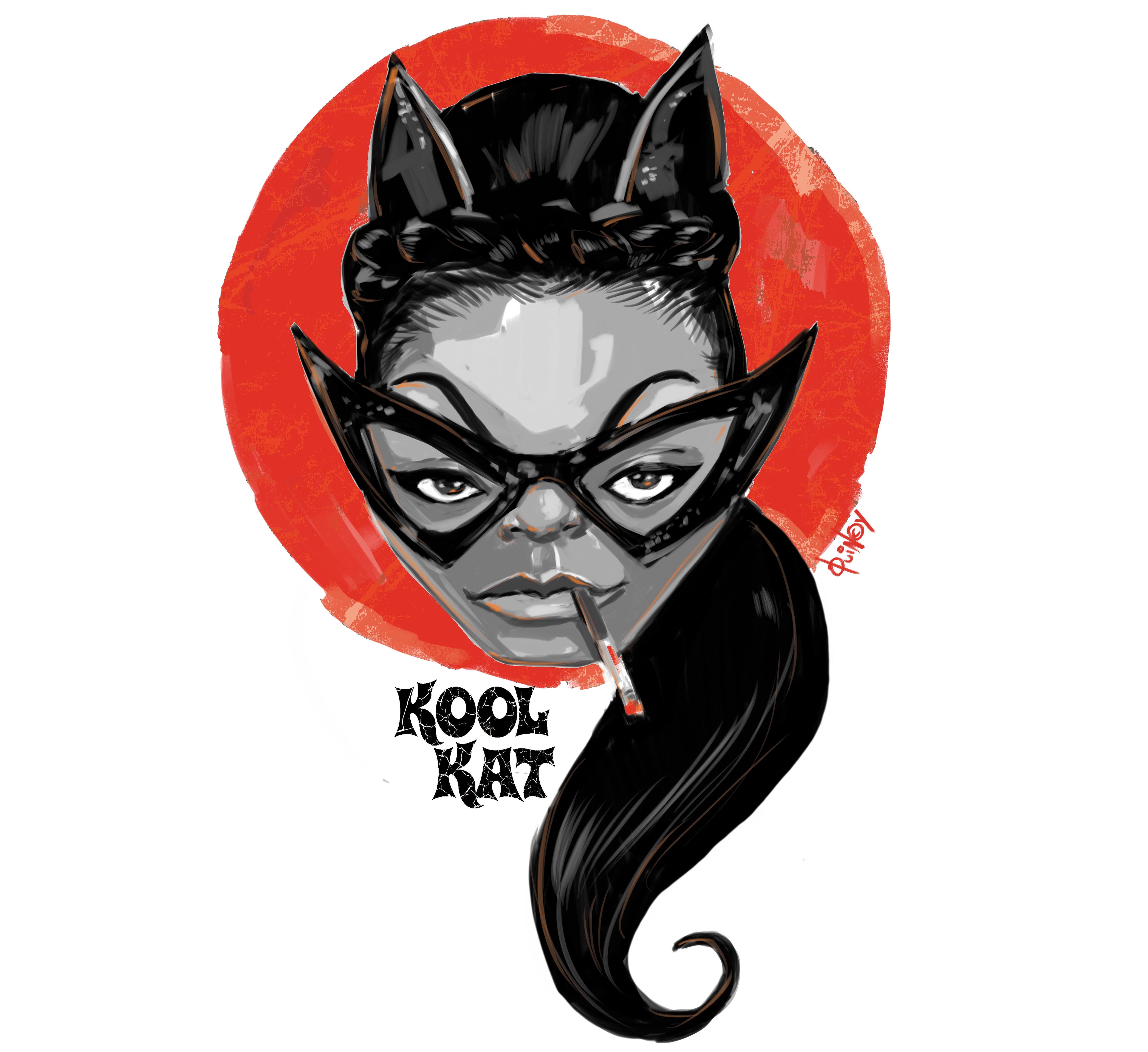 "Eartha Kitt ""Catwoman"" retro poster T-shirts 0001"