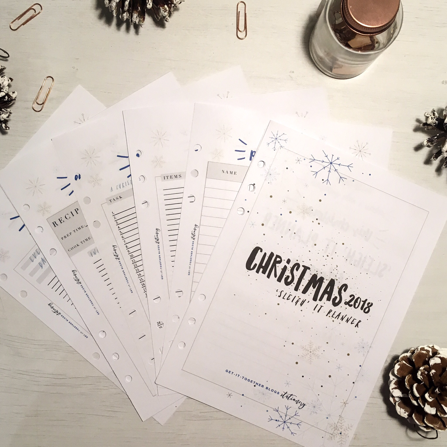 Christmas 2018 'Sleigh' it A5 Planner Inserts - 36 pages