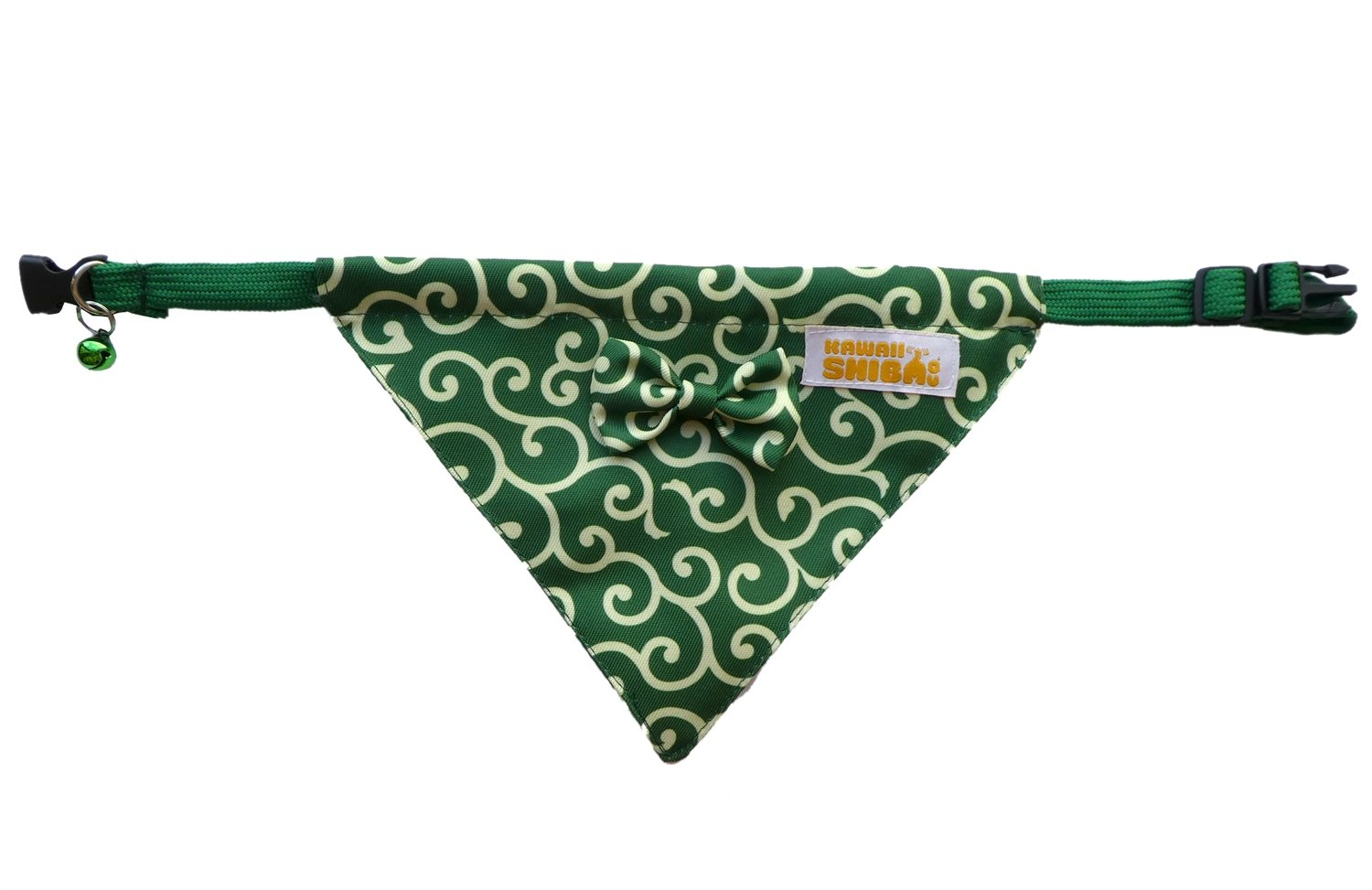 Kawaii Shiba Co. Green Karakusa Japanese Shiba Inu Dog Bandana With Adjustable Collar