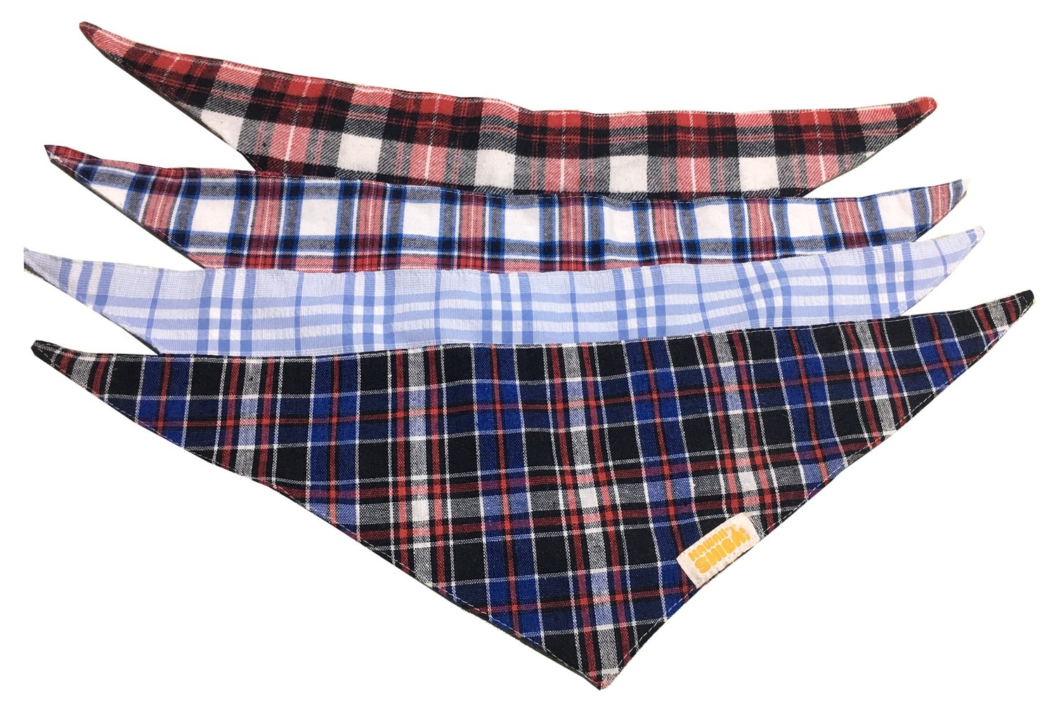 Kawaii Shiba Co. Plaid Dog Bandanas 4-Pack Set