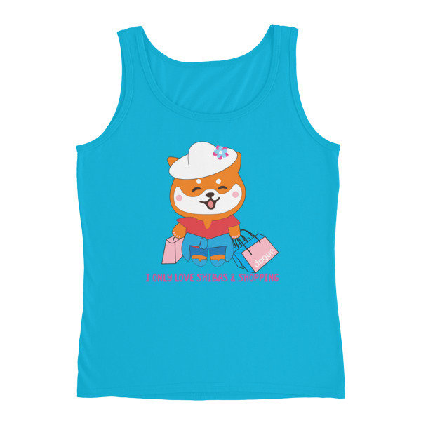 "Kawaii Shiba Co. ""I only love Shibas and shopping"" Ladies' Tank"