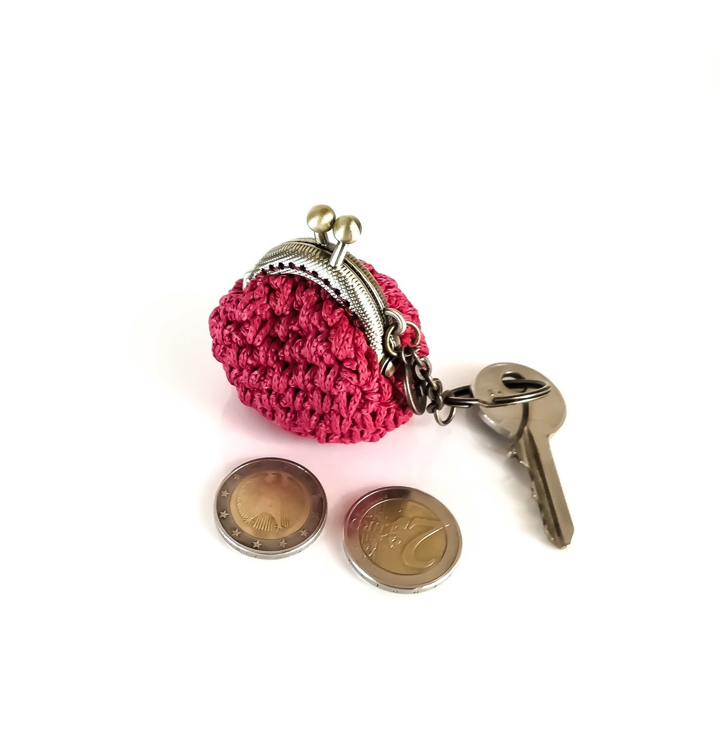 keychain with red crochet coin purse eed8e5860